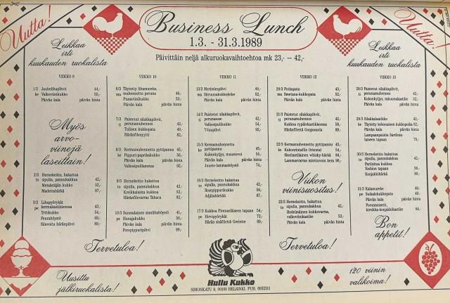 """Hullun Kukon """"Business Lunch"""" osui hinnaltaan 40-90 markan haarukkaan."""