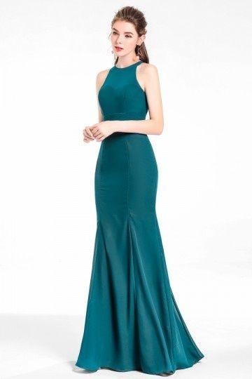 robe de soirée sirène verte longue simple