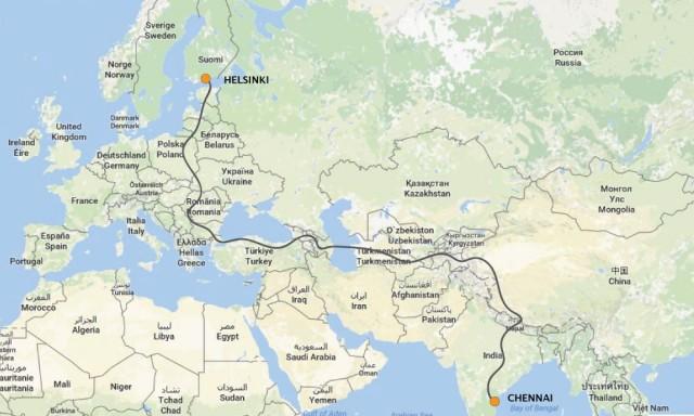 Suunniteltu prätkäreitti. Korkein kohta 5000 m. Matkan pituus 15000 km.