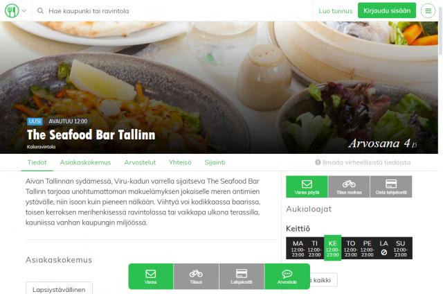 Tallinnassa voit tehdä pöytävarauksen esimerkiksi The Seafood Bar -kalaravintolaan.