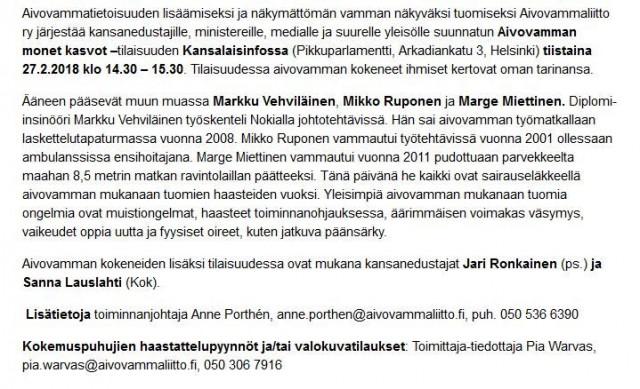 """""""aivovamma koskettaa noin puolta miljoonaa suomalaista."""""""