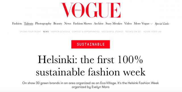Helsinki Fashion Weekin saavutukset on huomioitu maailmalla.