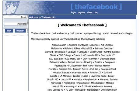Facebookin versio vuodelta 2004
