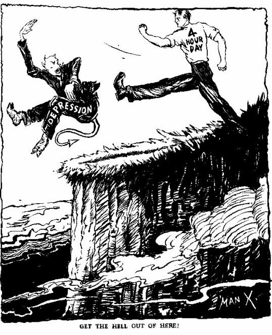 Masennus paholaisen muodossa saa kunnolla monosta 4 tunnin työpäivältä! (1940-luku)
