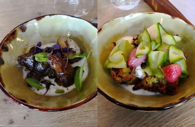 Ravintola Kajosta saa myös erinomaisia kasvisannoksia, tarvittaessa vegaanisena. Kuvissa maa-artisokka annos sekä kesäkurpitsa (mansikat oli omnom).