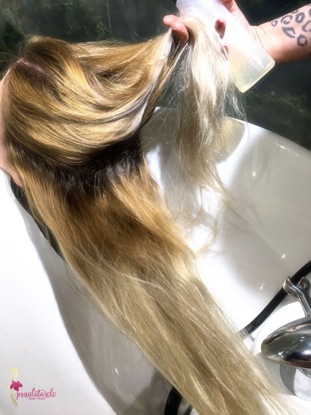 Ykkösvaiheen Olaplex-aine levitettiin kuiviin hiuksiin