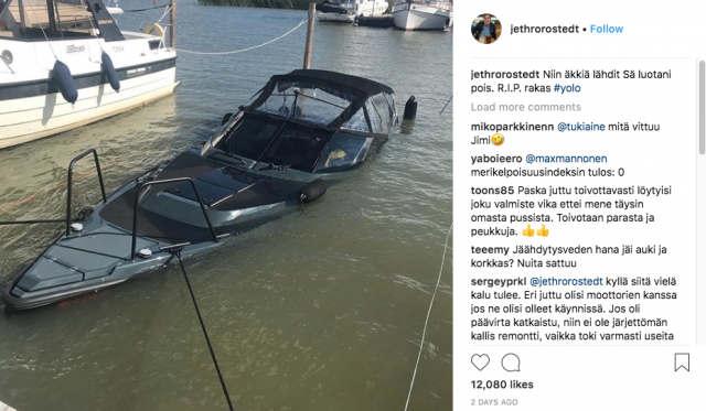 Kiinteistömogulin luksusvene upposi kuin veitsi voihin.