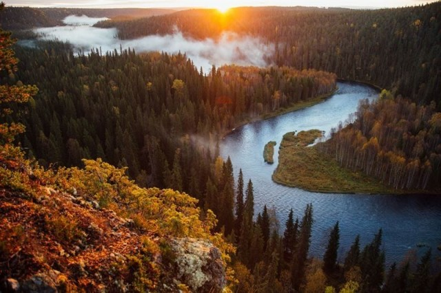 Oulangan kansallispuisto kylpee syksyn väreissä.