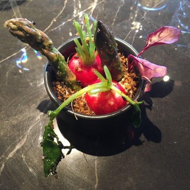 Sesongin mukainen ruoka on nyt kova sana. Gastro Bar Sesongissa maisteltiin keväällä retiisejä ja tuoretta parsaa.