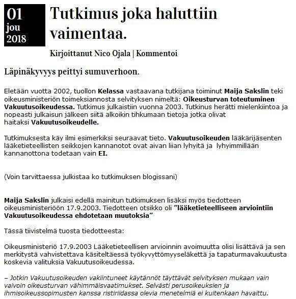 Eduskunnan nykyisen apulaisoikeusasiamiehen (AOA) selvitys!