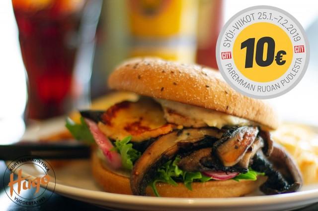 Kortteliravintola Hugon vegeburgerin välistä löytyy rapeaksi paistettua halloumia ja portobellosientä.