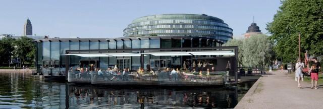 Meripaviljongin terassi sijoitetaan niin, että merinäköala säilyy myös ravintolan sisällä.