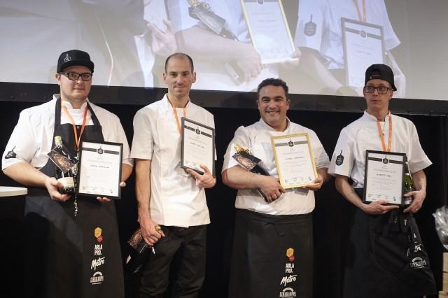 Pizzamestari 2019 -finalistit Martin Harmina (Strandhovet), Matteo Macaluso (Daddy Greens Pizzabar), Miguel Papaianni (Capperi) ja Alberto Neri (Fat Lizard).