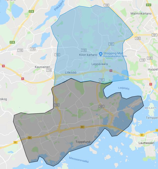 Woltin kuljetusalue ulottuu Tapiolan ja Matinkylän lisäksi myös Leppävaaran alueelle.
