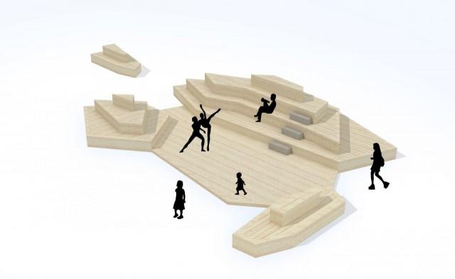 Kauppatorin rantaan tulee kelluva puinen saariryhmä.