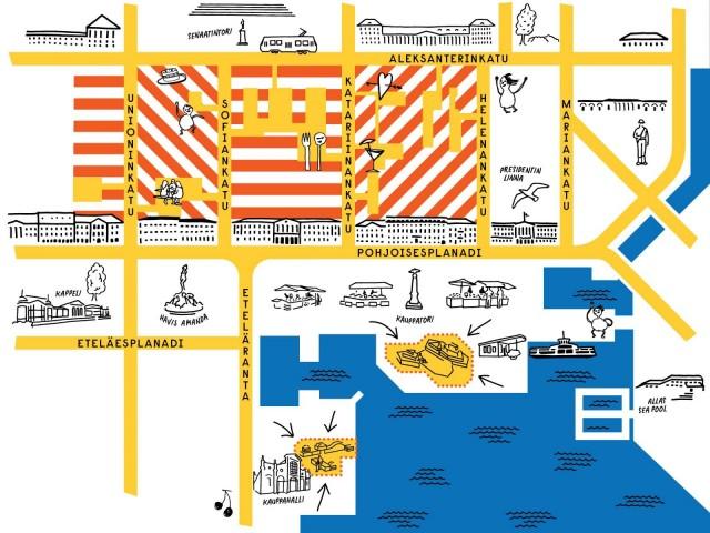 Uudet oleskelualueet kartalla.