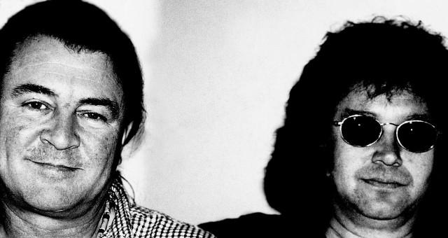 Kun Gillan murjaisi vitsin. Deep Purplen laulaja Ian Gillan ja rumpali Ian Paice. Kuva: Lamppu Laamasen valokuva-arkisto.