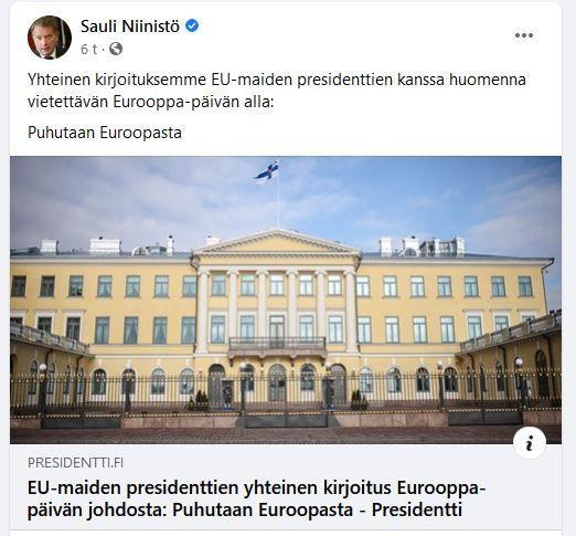 Kuvan kaappaus tasavallan presidentin facebookista.