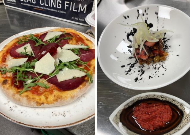 Pizza Bresaola ja mustekala-annokset maistuvat sisilialle.