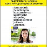 Pääministerin johdolla kohti korruptiovapaata Suomea