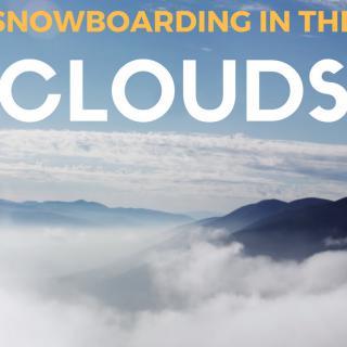 Mies laskee lumilaudalla pilvien päällä
