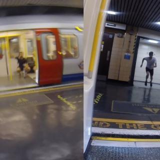 Mies vastaan metro – tyyppi juoksee metron kiinni maan pinnalla