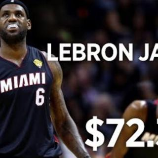 105 miljoonan palkka 72 minuutin työstä –parhaiten palkatut urheilijat